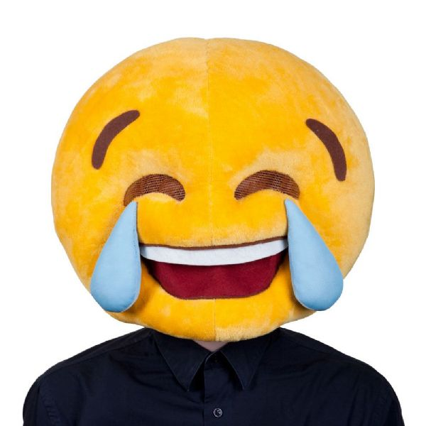 Adults Cry Laughing Mascot Head Mask Emoji Smart Phone Social Media Fancy Dress